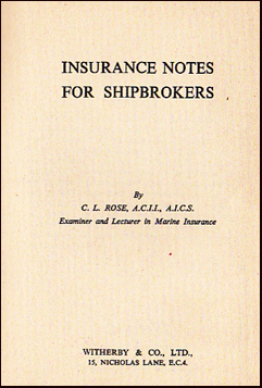 Insurance Notes for Shipbrokers # 19822