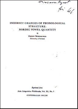 Indirect changes of phonological structure: Nordic vowel quantity # 36593