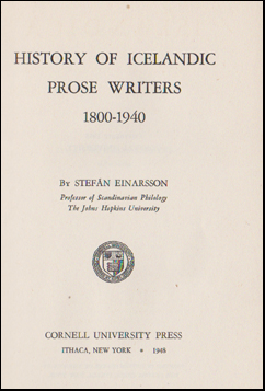 History of Icelandic prose writers 1800-1940 # 45828
